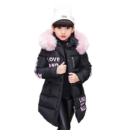 Abrigo para niña con capucha de pelo, largo, Akaufeng, chaqueta de invierno con capucha de pelos, capa exterior, chaqueta infantil, color negro, tamaño 160 cm