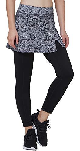 Westkun Damen Leggings mit Rock Winter Knöchelläng Laufhose Seitenschlitz Tennisrock mit Fleece Yoga Sport Soft Stoffdruck 2-in-1, Paisley, XL/EU46-48/Taillen:87-93CM