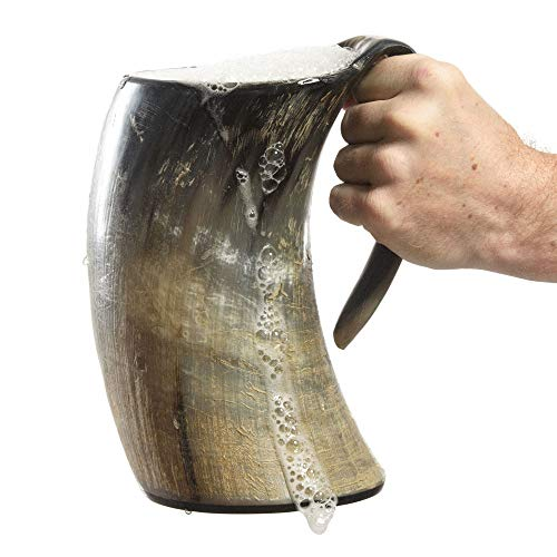 AleHorn Viking Drinking Horn - Genuine Ox Horn Tankard for Ale & Mead - Food-Grade Medieval Style...