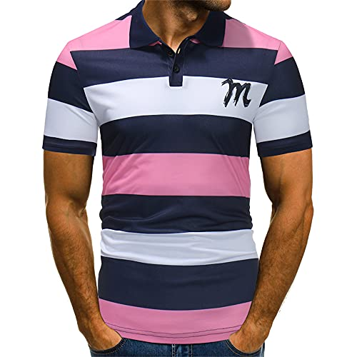 Polo Hombres Básica Rayas Moda Hombres Shirt Ocio Verano Kent Cuello Tapeta De Botones Manga Corta Hombres Shirt Estiramiento Deporte Negocios Golf Hombres Shirt Musculosa D-Pink M