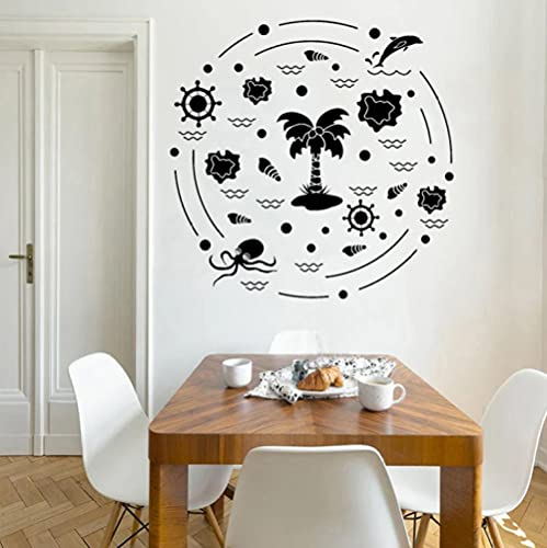 Calcomanía de pared de estilo de playa pegatina de brújula pulpo delfín decoración del hogar palmera árbol de coco decoración de sala de estar onda 57x58cm
