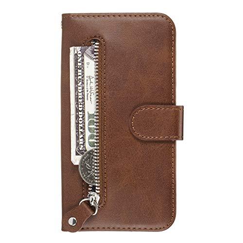 Docrax Handyhülle Lederhülle für Xiaomi Redmi 6Pro / Mi A2 Lite, Flip Case Schutzhülle Hülle mit Standfunktion Kartenfach Magnet Brieftasche für Xiaomi Redmi 6 Pro - DOYYO070281 Braun