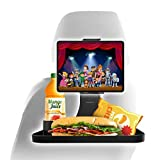 """Macally Car Headrest Tablet Holder with Car Food Tray - for Phones and Tablets 4.5"""" to 10"""" Wide - Adjustable Ipad Car Headrest Mount with Car Table and Cupholder - Ipad Car Holder Backseat for Snacks"""
