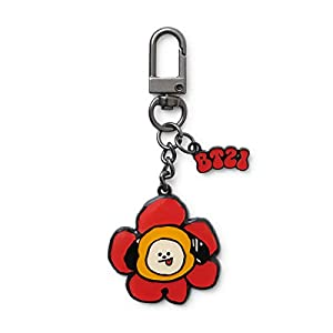 BT21 Flower Collection Character Metal Snap Keychain Key Ring Bag Charm with Clip