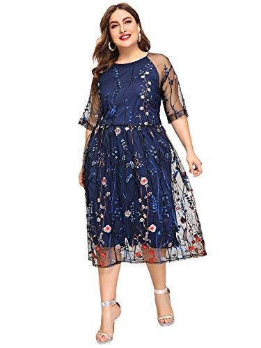 Milumia Women's Plus Size Round Neck Floral Embroidered Mesh Half Sleeve Dress