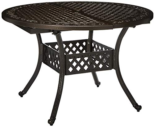 Christopher Knight Home Stock Island Outdoor Expandable Aluminum Dining Table, Hammered Bronze Finish