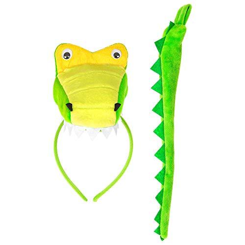 Widmann 09738 krokodil set, haarbanden en staart, dames, geel/groen, eenheidsmaat
