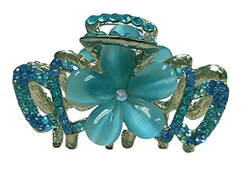 Medium Small Crystal Jaw Clip with Beads and Crystals CI86410-1448aqua by Bella