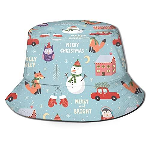 EASSEN Paisley Flower Boho Floral Unisex Bucket Hat Verano Viajes Pescador Sombreros Al Aire Libre Protección Sol Gorra Pesca, Muñeco de nieve de Feliz Navidad, Talla única
