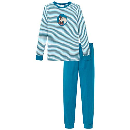 Schiesser Mädchen Md Schlafanzug lang Pyjamaset, Petrol, 128