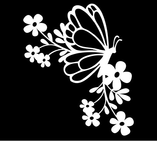 Butterfly Floral Corner Vinyl Decal | White | Made in USA by Foxtail Decals | for Car Windows, Tablets, Laptops, Water Bottles, etc. | 3.8 x 4.5 inch