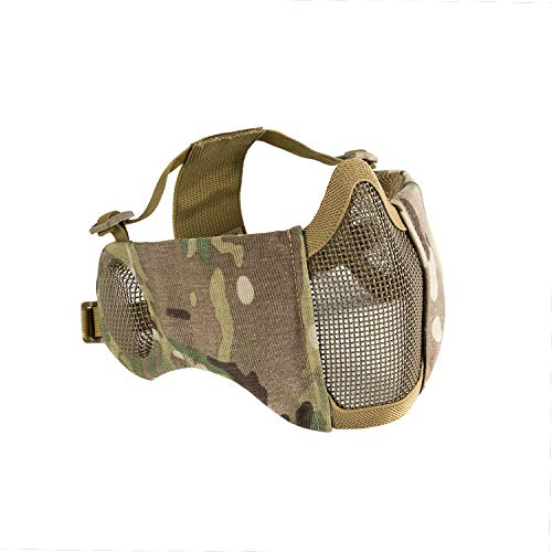 1T 6' Foldable Half Face Airsoft Mesh Mask with Ear Protection, Military Tactical Lower Face...