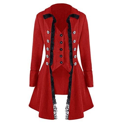 Women's Peplum Blazer Coat Notch Lapel Slim Fit Lace Ruffle High Low Hem Blazer Double Beasted Jacket Suit Tops (Red Tailcoat, L)