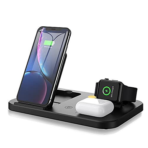 TongYing Cargador inalámbrico 3 en 1, estación de carga inductiva Qi Fast Charger para Apple Watch, AirPods Pro, iPhone 11 Pro 11, Samsung Galaxy S20, S10, S9, S8, Note9, etc.
