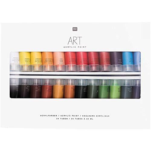 Rico Design Art Künstler Acrylfarben-Set 24 Farben je 22 ml Tuben - Malfarben/Künstlerfarben für Anfänger, Profikünstler, Kinder & Erwachsene