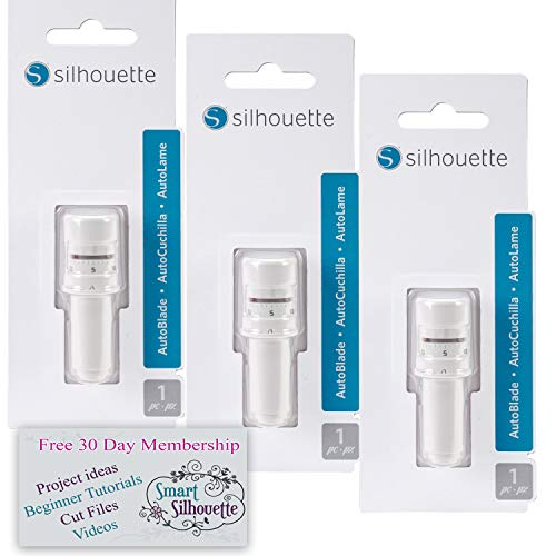 Silhouette Autoblade 3 Pack Replacement Blades for Cameo 3 and Portrait 2- with 30 Day Subscription to Smart-Silhouette