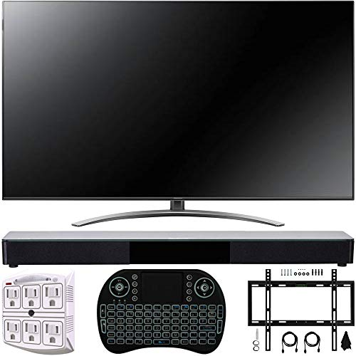 LG 55SM9000PUA 55 4K HDR Smart LED NanoCell TV w/AI ThinQ 2019 Model with Home Theater 31 Soundbar, Wireless Backlit Keyboard, Flat Wall Mount Kit & SurgePro 6-Outlet Surge Adapter