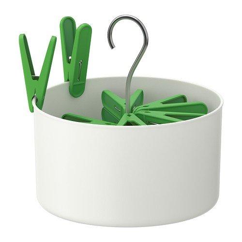 IKEA Torkis - Peg Korb mit 30 Wäscheklammern, weiß in / outdoor weiß, grün - 50x229 cm