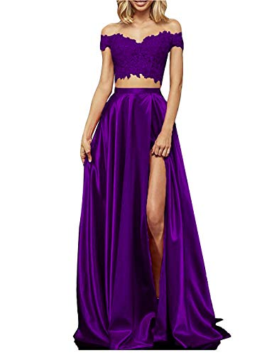 yinyyinhs Womens Two Piece Prom Dresses Long Off Shoulder Lace Satin Slit Formal Dress Purple Size 6