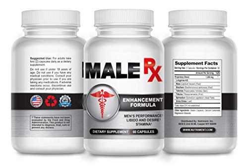 Male RX Pro- Male Enhancement Pills for Fast Growth- Enlargement Supplement Made for Men- Fast Acting and Side Effect Free- Increase Male Size and Add Inches Fast- 60 Caps