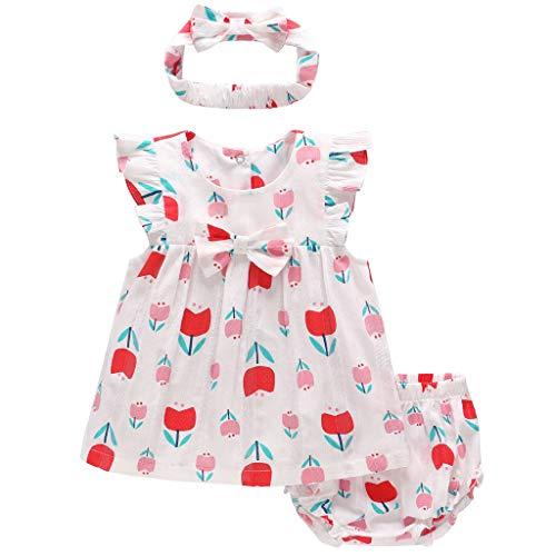 JiAmy Baby Mädchen 3 Stück Bekleidungsset, Blumen Kurzarm-Kleid + Shorts + Stirnband Sommer-Outfit-Set, 3-6 Monate