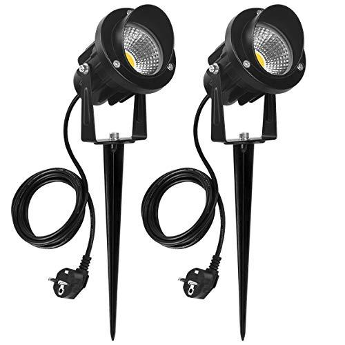 SanGlory 7W LED Gartenleuchten mit Erdspieß Gartenstrahler LED Erdspieß IP65 Gartenbeleuchtung Wasserdicht Gartenleuchte mit Stecker 800LM Wegeleuchte Garten LED Spotbeleuchtung Warmweiß 2-er Pack