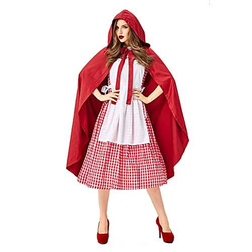 ChouZZ Conjunto de 4 piezas de vestido de capa con capucha roja, vestido de cuento de hadas para madre y nias, traje de rendimiento dramtico para padres e hijos, Adulto., XL