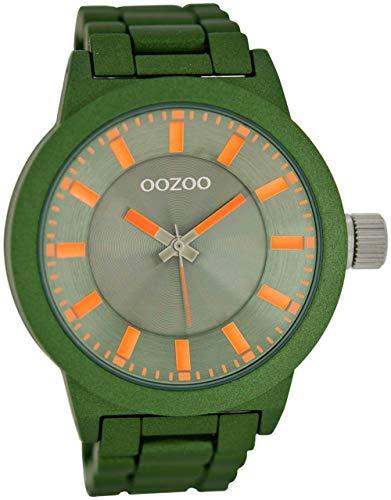 Oozoo Herrenuhr mit Glieder Metallband und Faltschließe 47 MM Dunkelgrün C6088