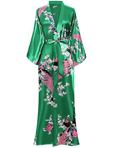 BABEYOND Women's Kimono Robe Long Robes with Peacock and Blossoms Printed Kimono Nightgown (Green)