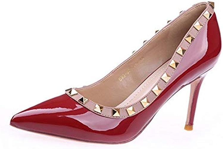 YMFIE Cuir Verni européen vin Rouge Talons Hauts Dames Bien avec des Chaussures Pointues à la Mode Rivet Chaussures Simples Chaussures de fête