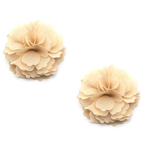 Douqu High Heel Chiffon Ribbon Rose Flower Fashion Sandals Shoe Clips Charms Decoration Pair (Sand Color)