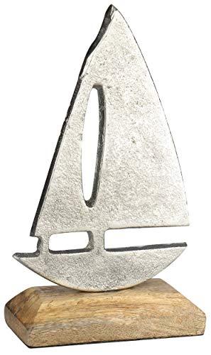com-four® Maritimes Deko Schiff aus Metall mit Standfuß aus Holz, 10 x 17,5 x 5 cm (01 Stück - kleines Schiff)