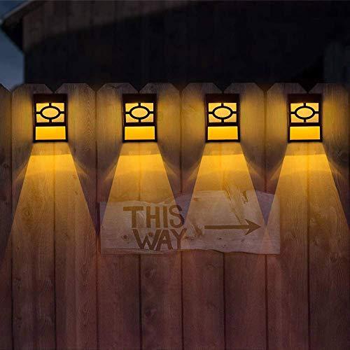 Solarbetriebene Gartenzaun-Lichter, dekorativ, wasserdicht, für Zaun/Wand/Treppe, Außen-Weihnachtslichter, LED-Lichter, solarbetrieben, für den Außenbereich, 4 Stück