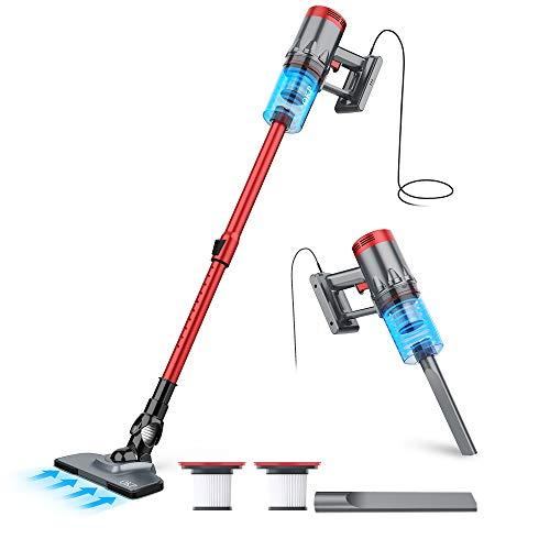 Vacuum Cleaner Corded, 3 in 1 Stick Vacuum 17Kpa Suction, Lightweight Handheld Vacuum, Quiet Small Vacuum Cleaner with Metal and 2PCS HEPA Filter for Pet Hair Hardwood Floor Carpet Hard Tile Floors