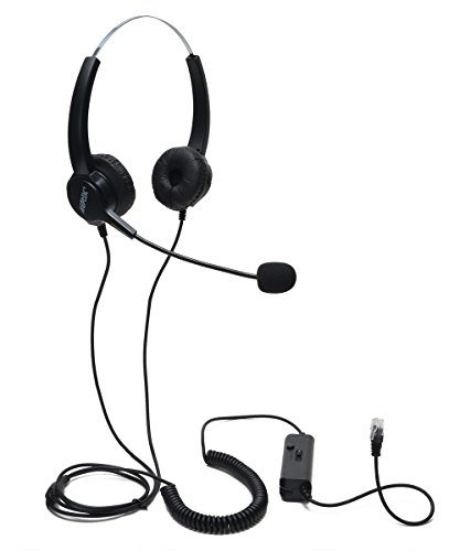 Audio Conference Equipment, AGPtEK Hands-free Efficient Call Center Binaural Corded 4-Pin RJ9 Crystal Head Headphones With Mic and Comfortable Soft Pad, Office Headsets-Black