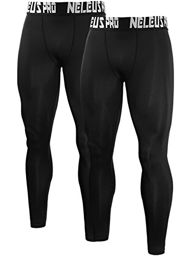 Neleus Men's 2 Pack Active Base Layers Compression Pants,51,Black,Red,L,Tag XL