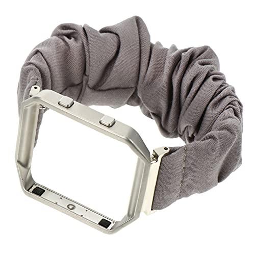 ibasenice Cinturino con telaio in metallo Scrunchie orologio cinturino cinturino cinturino cinturino elastico orologio compatibile con Fitbit Blaze argento