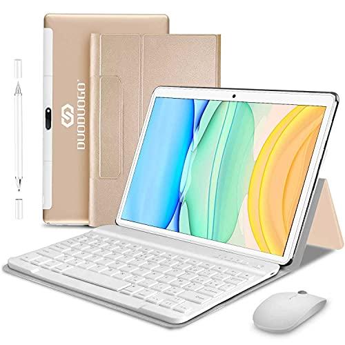 Tablet 10 Pulgadas Baratas y Buenas 4GB RAM + 64GB ROM Android 10 -DUODUOGO Tableta Octa-Core 1.6GHz, 8000mAh, Dual SIM,WiFi,Bluetooth,GPS,Type-C,OTG, 8MP Cámara, Certificación Google GMS (Oro)