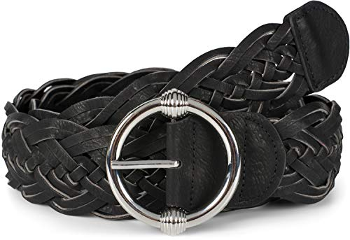 styleBREAKER Cinturón trenzado para damas en óptica de doble trenzado con hebilla redonda artísticamente decorada, Cinturón de Talla Única 03010116