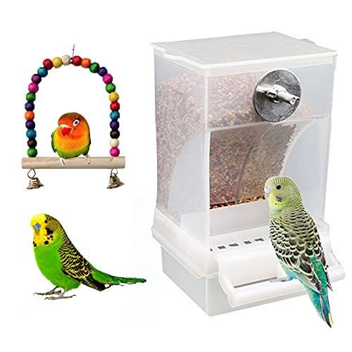Futterautomat Vogelkäfig Wellensittich Automatischer Futterspender Acryl Lebensmittelbehälter Vögel Vogelhäuschen für Wellensittiche Kanarienvögel Nymphensittiche Finken Sittiche Pfingstrosen