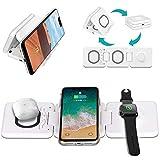 3 in 1 Kabelloses Ladegerät, 15W Wireless Charger Ladepad, Qi-zertifizierte für Apple Watch 5 4 3 2, AirPods, iPhone 11 Pro Max/X/XS/XR/8Plus, Samsung Galaxy S20/S10 (Adapter einschließen)
