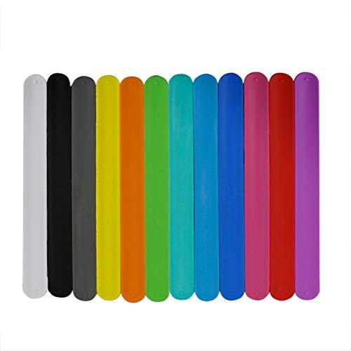 STOBOK 12 Stücke Slap Armbänder aus Silikon Slap Band Klatscharmband Schnapparmband Mitgebsel Geschenk für Kinder Erwachsene Sport (Zufällige Farbe)