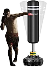 PEXMOR Freestanding Punching Bag Heavy Solid Boxing Bag with Suction Cup Armor Base & Noise Vibration Absorption Device for Adult Youth - Men Stand Kickboxing Bags Kick Punch Bag   Black