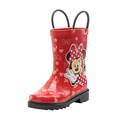 Disney Girls Minnie Mouse Character Printed Waterproof Easy-On Rubber Rain Boots - Size 6 M US Toddler