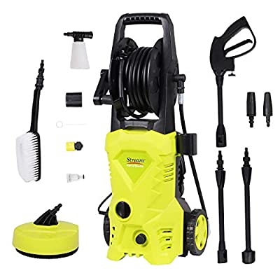 1650W 135Bar 420L/H Electric Pressure Washer Portable Patio Cleaner Car Power Washer with brush, Turbo Nozzle, Adjustable Nozzle Accessories for Garden Car Patio Yard Driveways by Stream