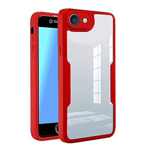 SDTEK Cover Compatible con iPhone 7/8 / SE 2020, Cover Corpo Intero Protezione dello Schermo Integrata Protezione Frontale Posteriore 360 (Rosso) Custodia