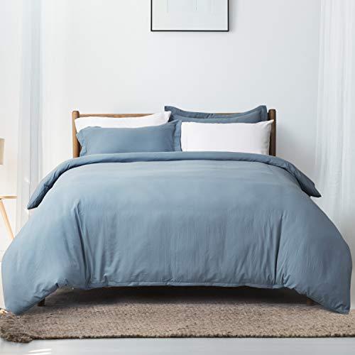 Bedsure Duvet Cover Queen Size Wrinkled Vintage Soft Duvet Cover with Zipper Microfiber Bedding Set, Grayish Blue