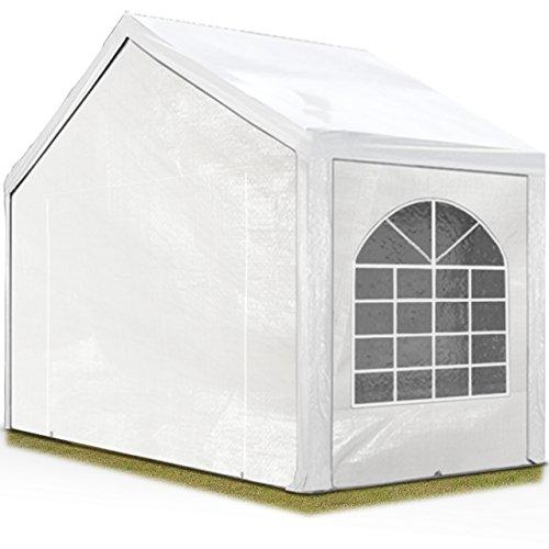 TOOLPORT Hochwertiges Partyzelt 3x2 m Pavillon Zelt 240g/m² PE Plane Gartenzelt Festzelt Wasserdicht weiß