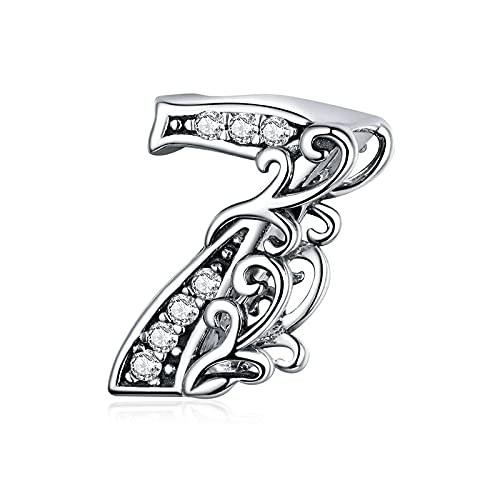 Cuentas De Números De La Suerte Plata De Ley 925 Vintage Lucky Guardian De Cero A Diez Números De Figuras Encantos De Plata DIY Fabricación De Joyas 7