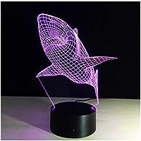 3Dイリュージョンナイトライト サメの動物 スマートタッチ 3Dランプオプティカル7色段階的に変化する子供用LEDライトスマートタッチベッドサイドランプベッドルーム男の子用ホームデコレーションクリスマスギフト